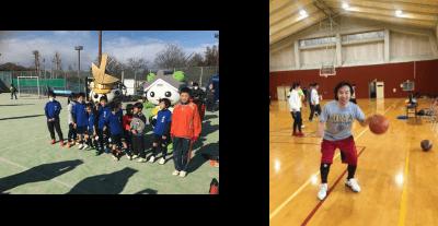 サッカースポーツクラブの試合とバスケットの様子
